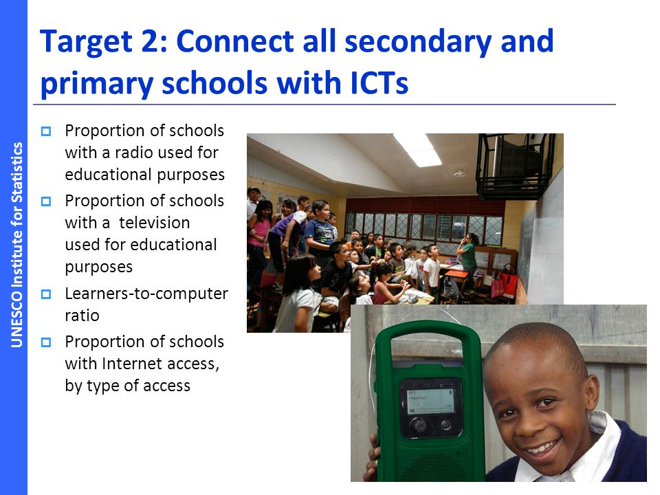 Target 2: Connect all secondary and primary schools with ICTs