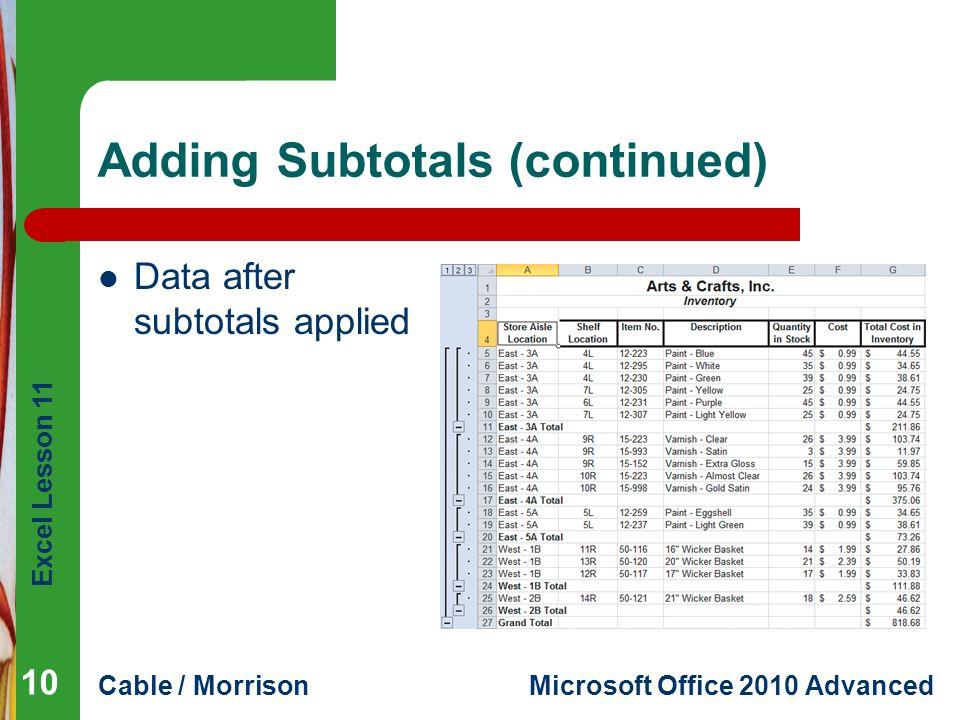 Adding Subtotals (continued)