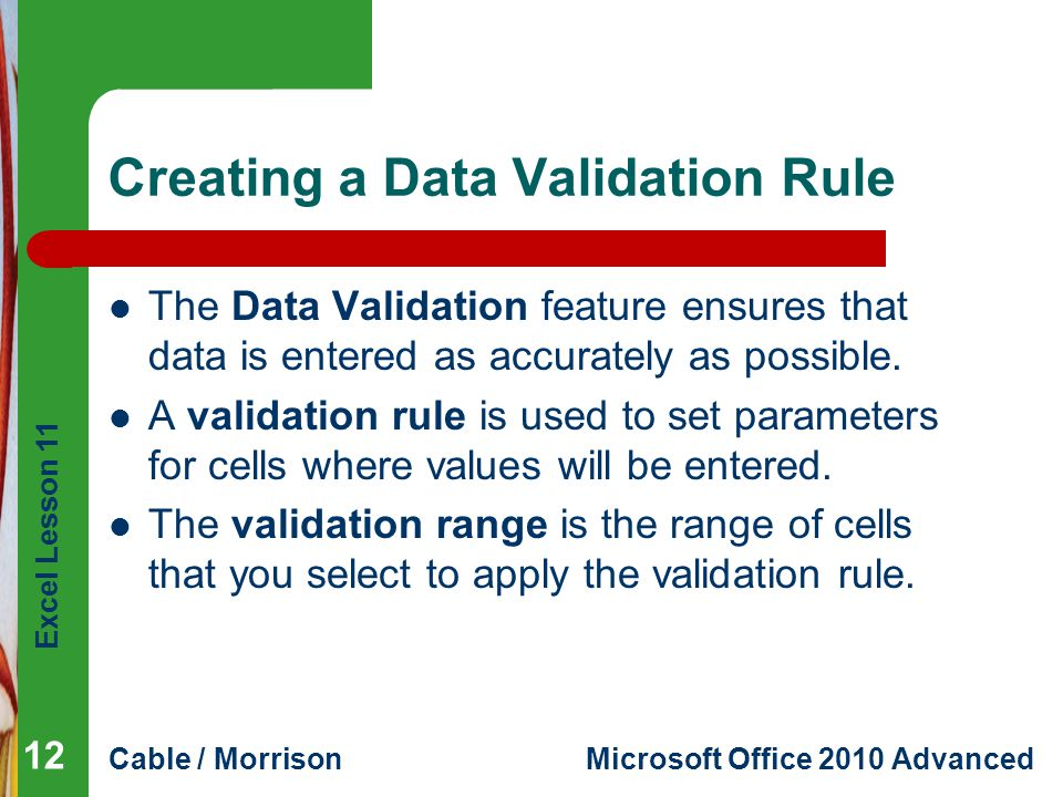 Creating a Data Validation Rule