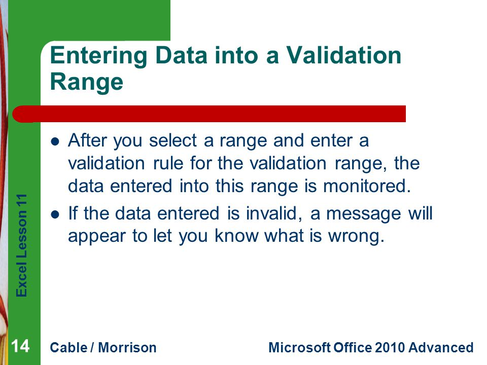 Entering Data into a Validation Range