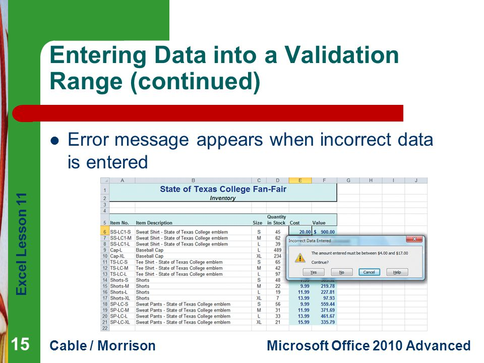 Entering Data into a Validation Range (continued)