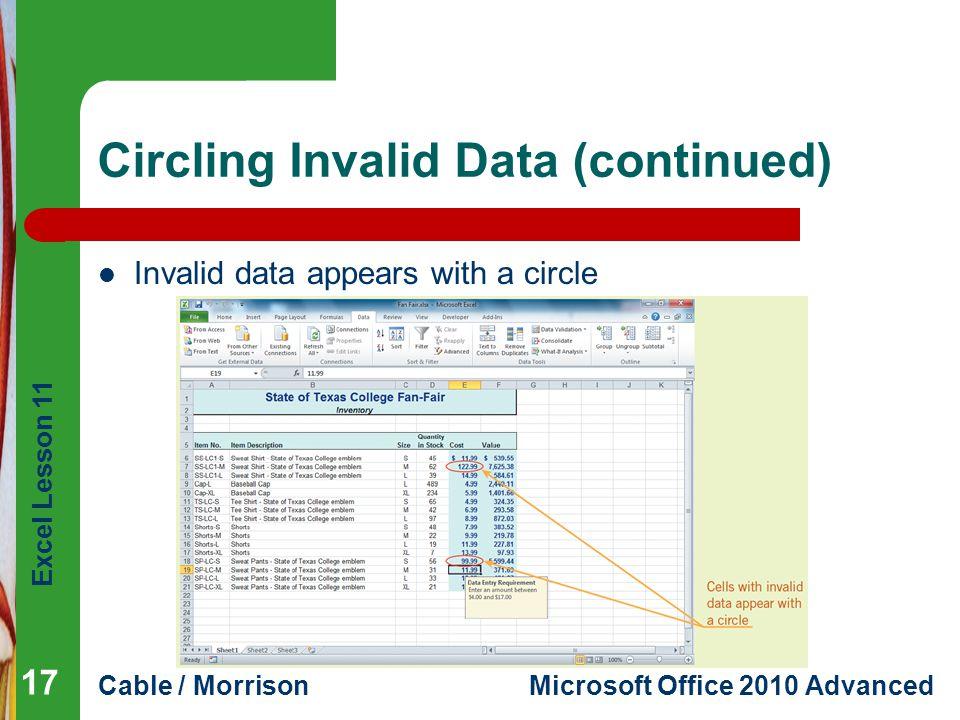 Circling Invalid Data (continued)