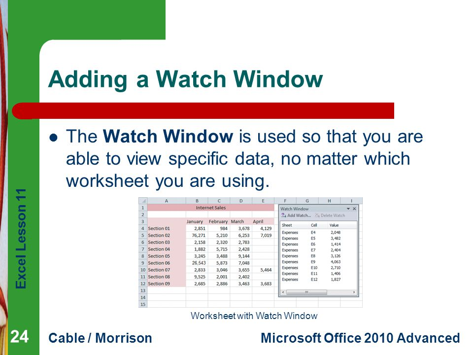 Worksheet with Watch Window