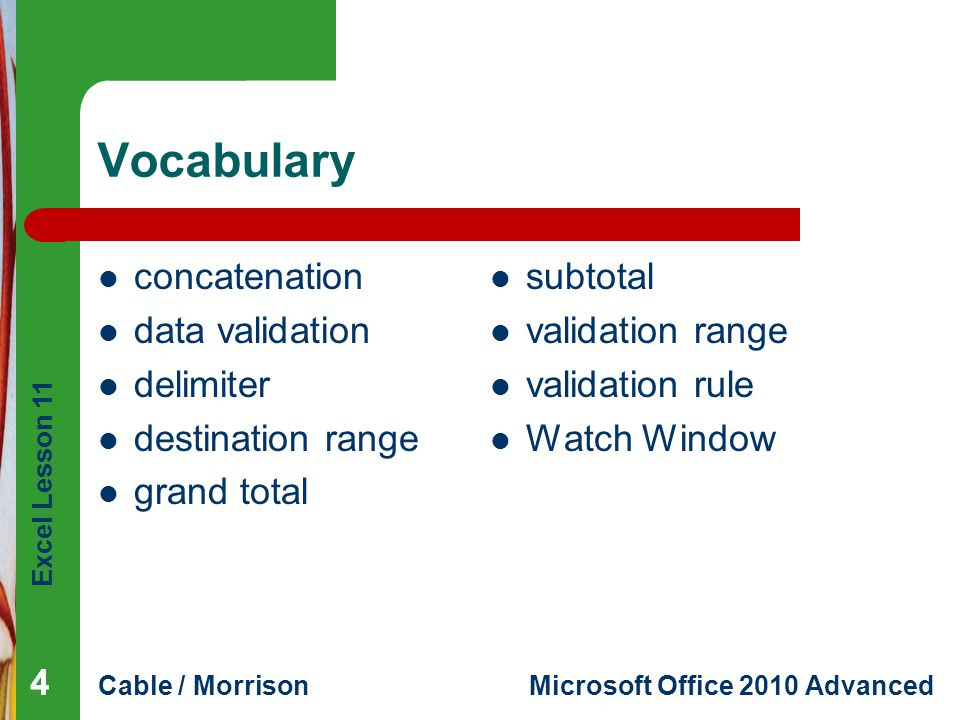 Vocabulary concatenation data validation delimiter destination range