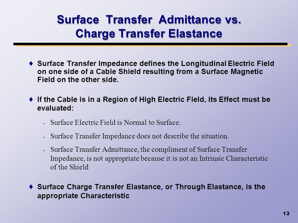 Surface Transfer Admittance vs. Charge Transfer Elastance