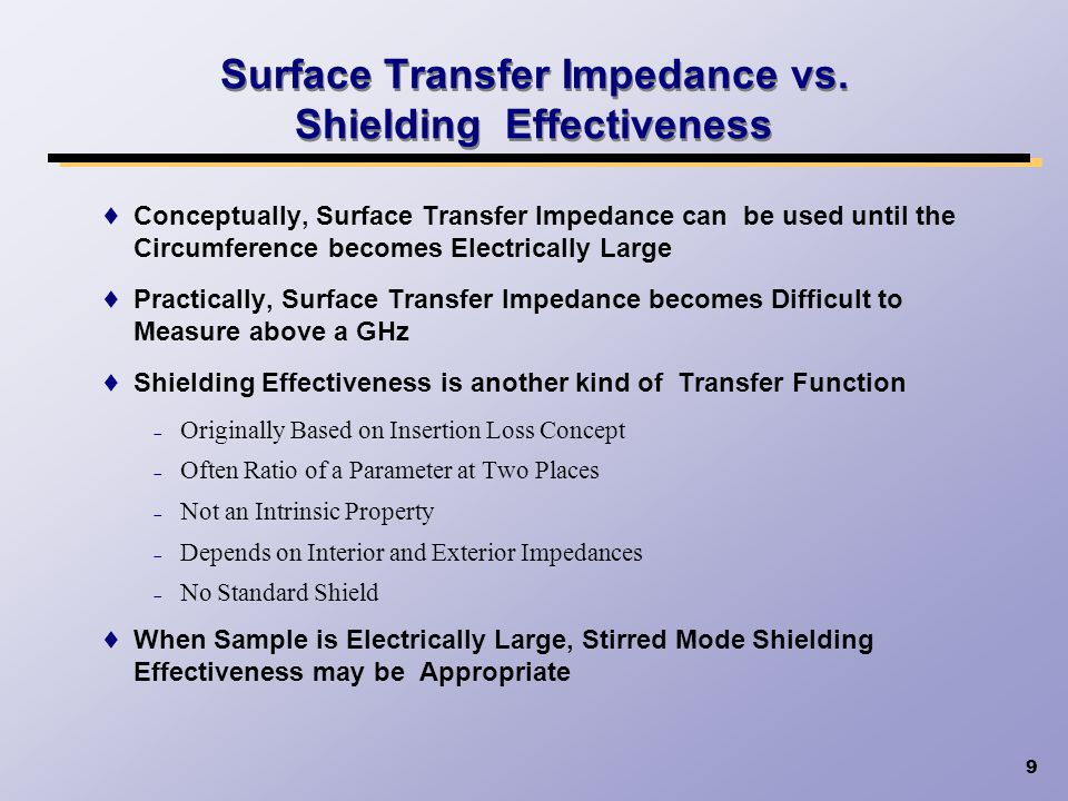 Surface Transfer Impedance vs. Shielding Effectiveness