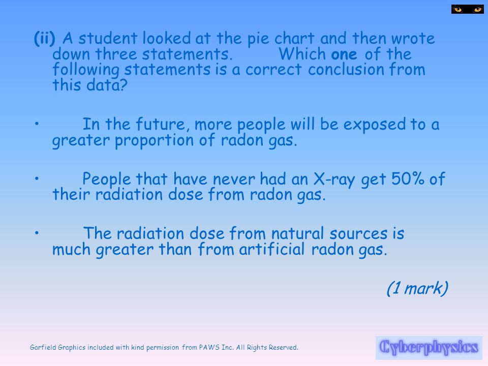 (ii) A student looked at the pie chart and then wrote down three statements. Which one of the following statements is a correct conclusion from this data