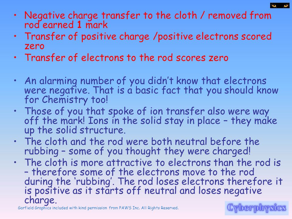 Negative charge transfer to the cloth / removed from rod earned 1 mark