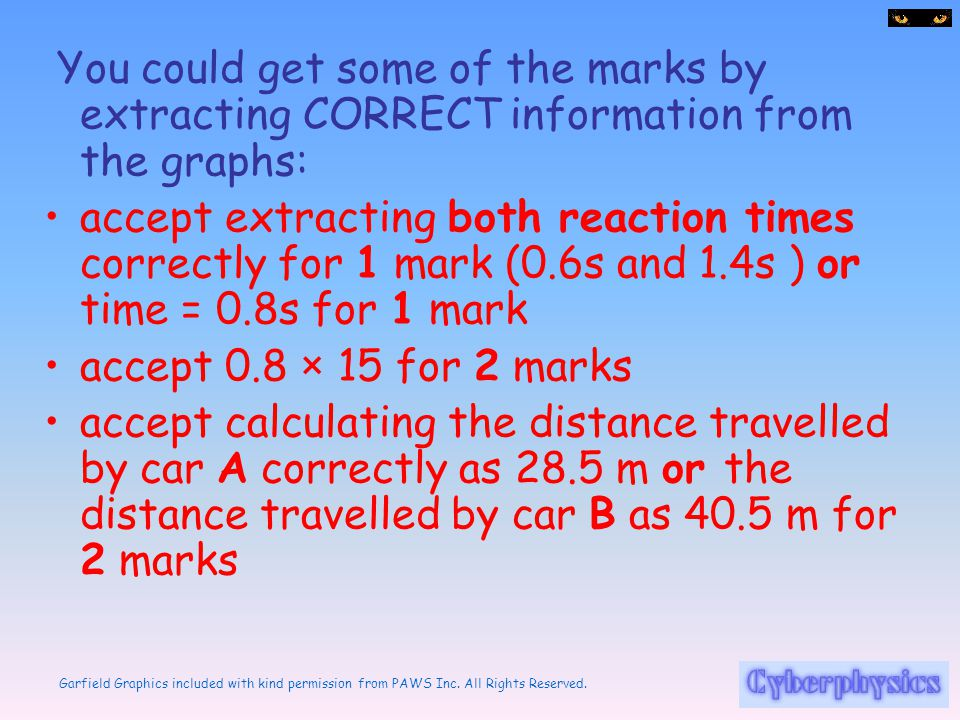You could get some of the marks by extracting CORRECT information from the graphs:
