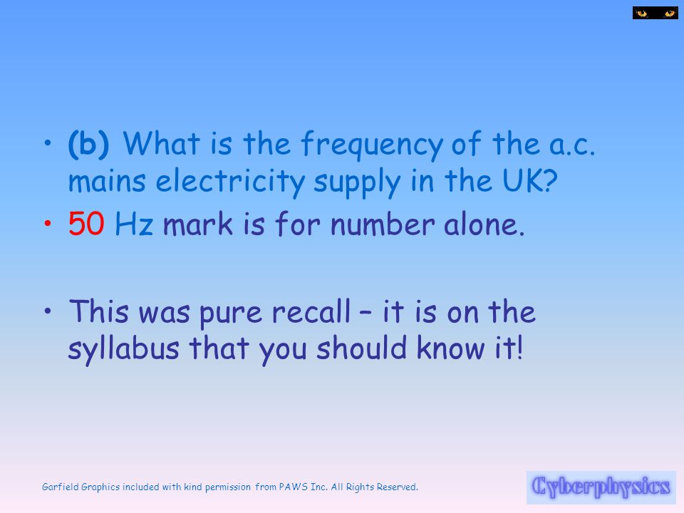 (b) What is the frequency of the a. c