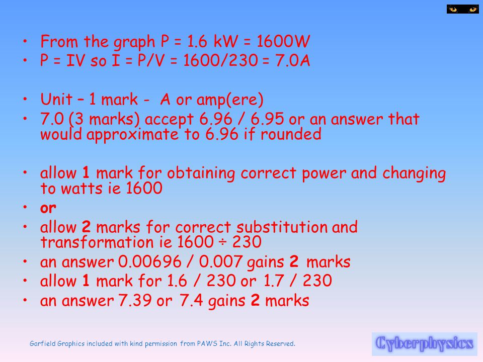 From the graph P = 1.6 kW = 1600W P = IV so I = P/V = 1600/230 = 7.0A. Unit – 1 mark - A or amp(ere)