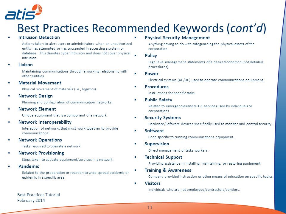 Best Practices Recommended Keywords (cont'd)