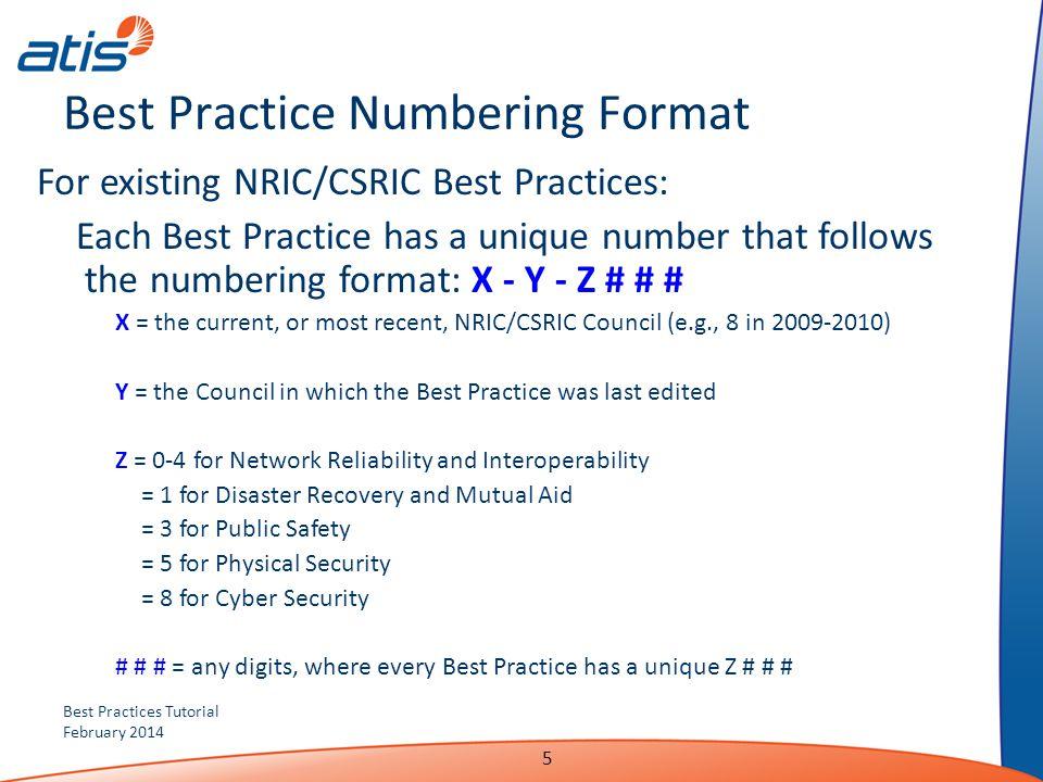 Best Practice Numbering Format