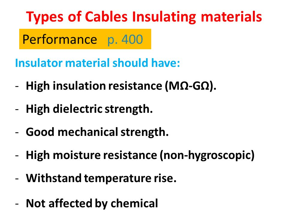Types of Cables Insulating materials