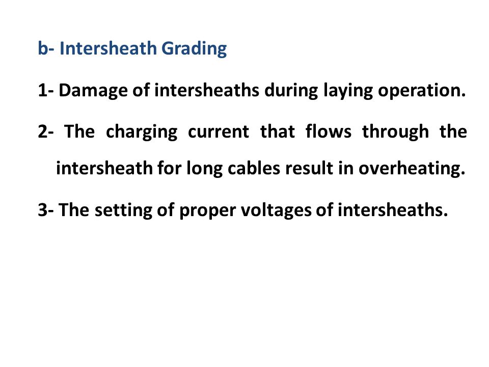b- Intersheath Grading 1- Damage of intersheaths during laying operation.