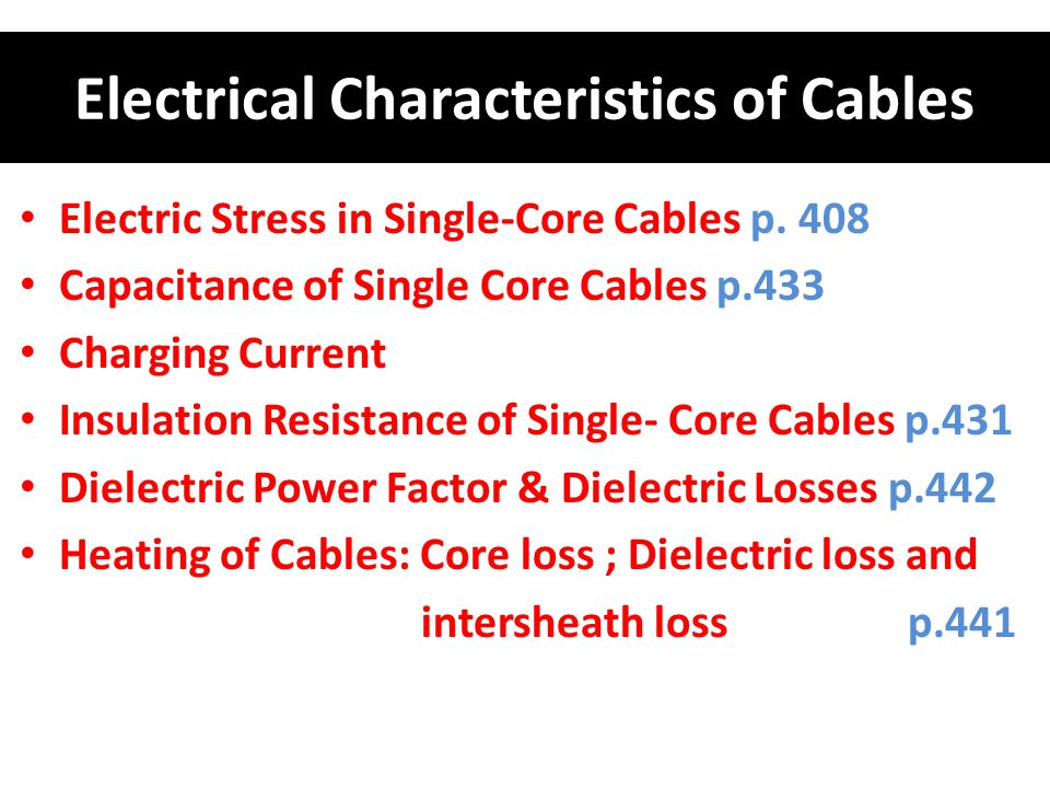 Electrical Characteristics of Cables