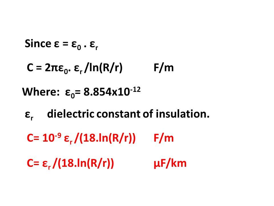 Since ε = ε0. εr C = 2πε0. εr /ln(R/r) F/m Where: ε0= 8