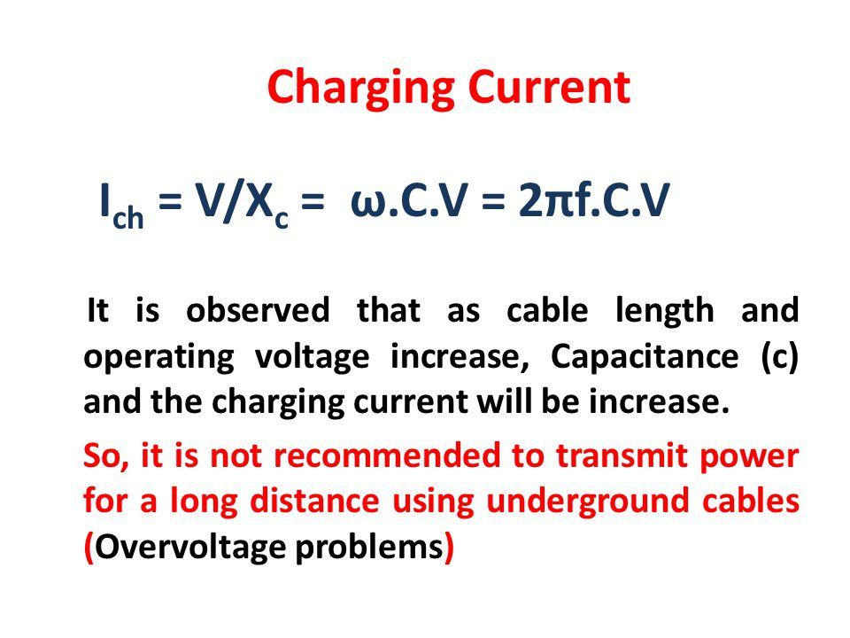 Charging Current Ich = V/Xc = ω.C.V = 2πf.C.V