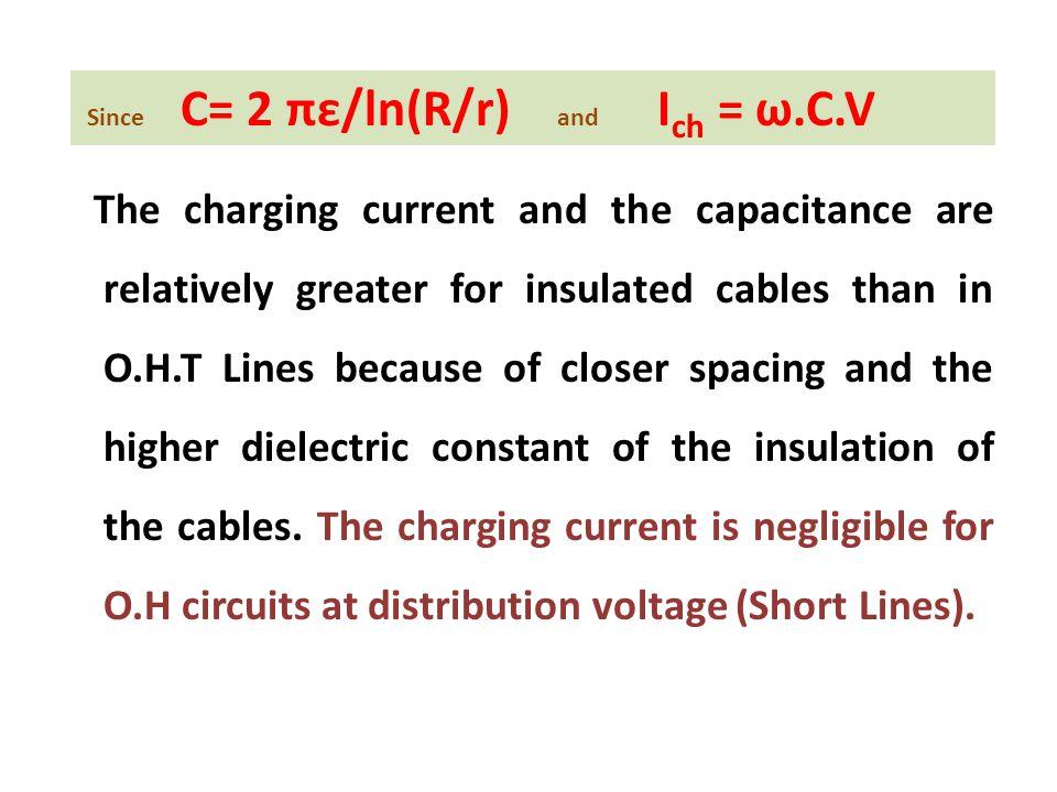 Since C= 2 πε/ln(R/r) and Ich = ω.C.V