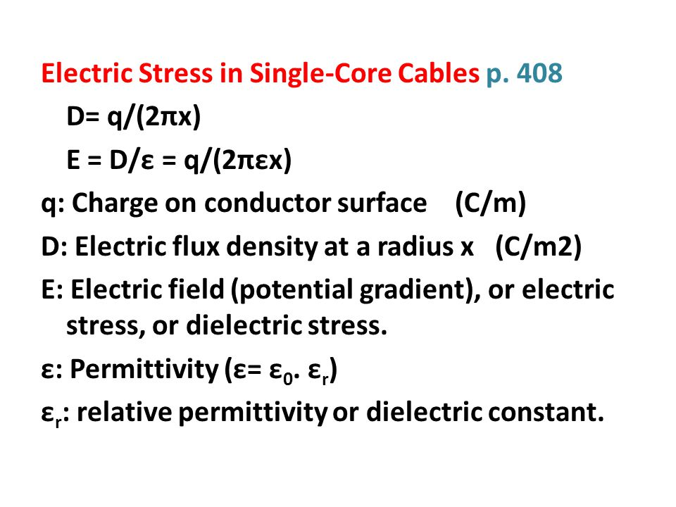 Electric Stress in Single-Core Cables p