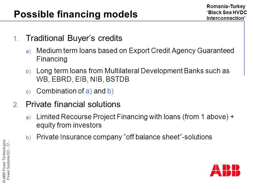 Possible financing models