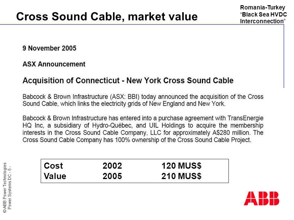 Cross Sound Cable, market value