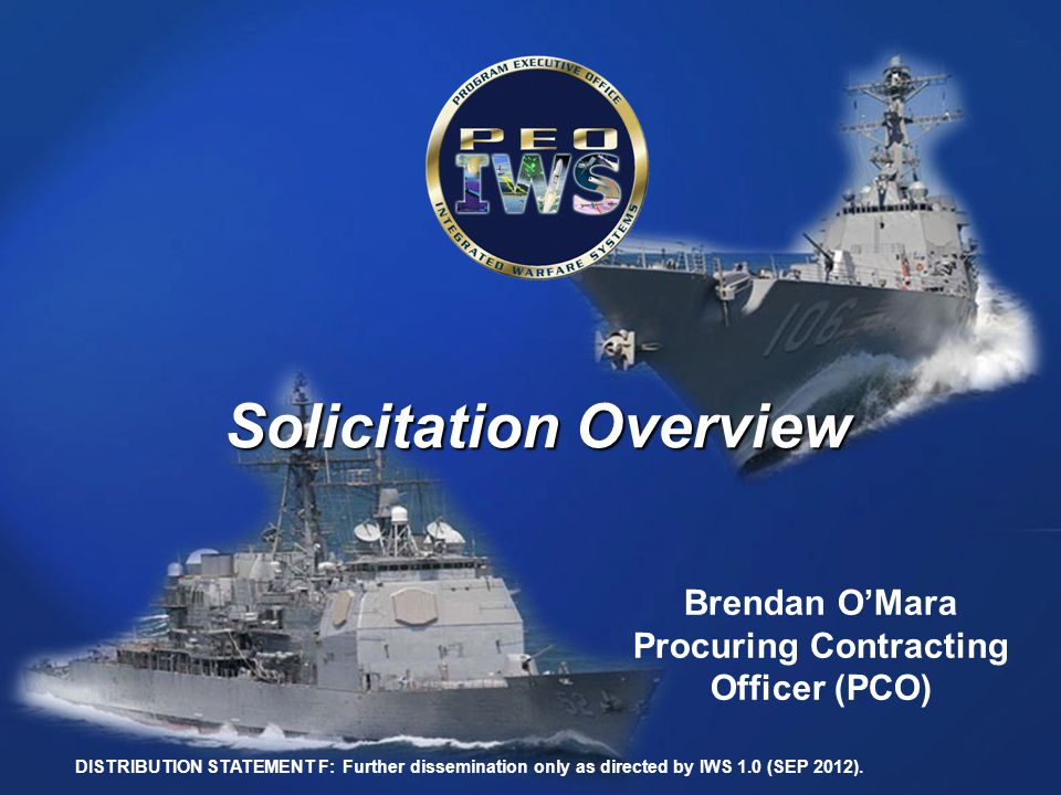 Solicitation Overview Procuring Contracting Officer (PCO)