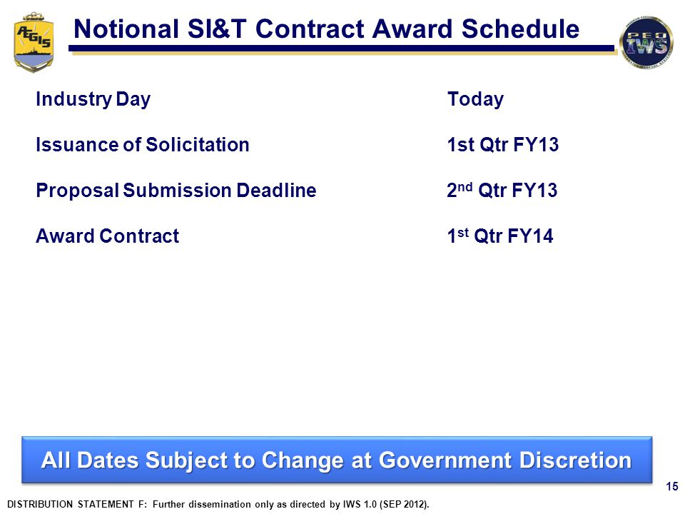 Notional SI&T Contract Award Schedule