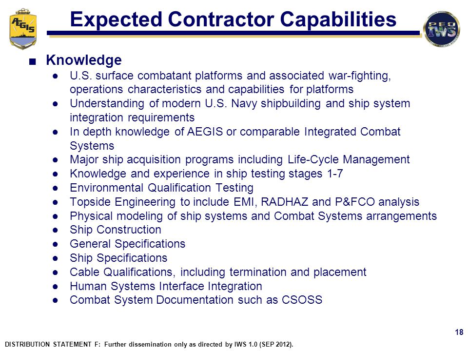 Expected Contractor Capabilities