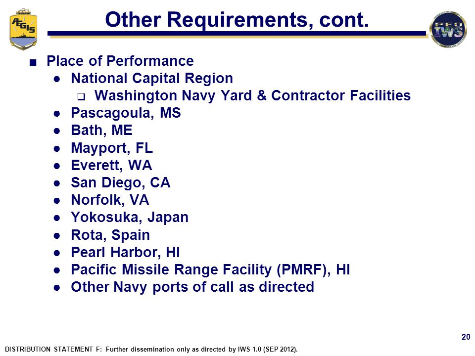 Other Requirements, cont.