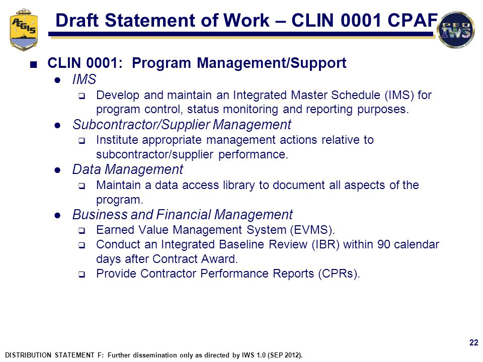 Draft Statement of Work – CLIN 0001 CPAF