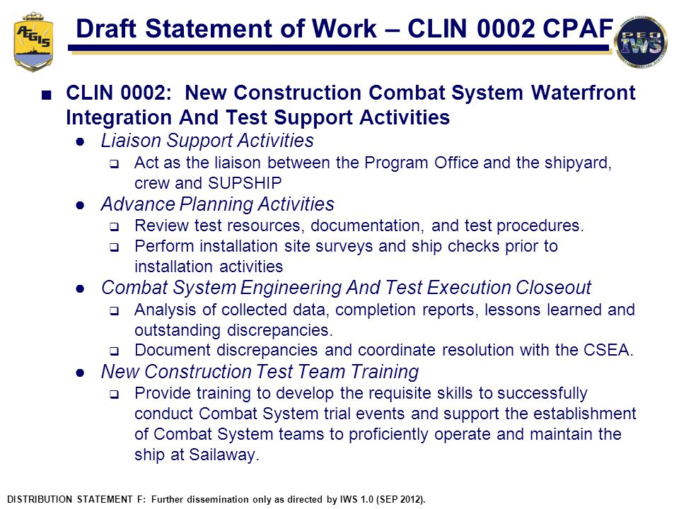 Draft Statement of Work – CLIN 0002 CPAF