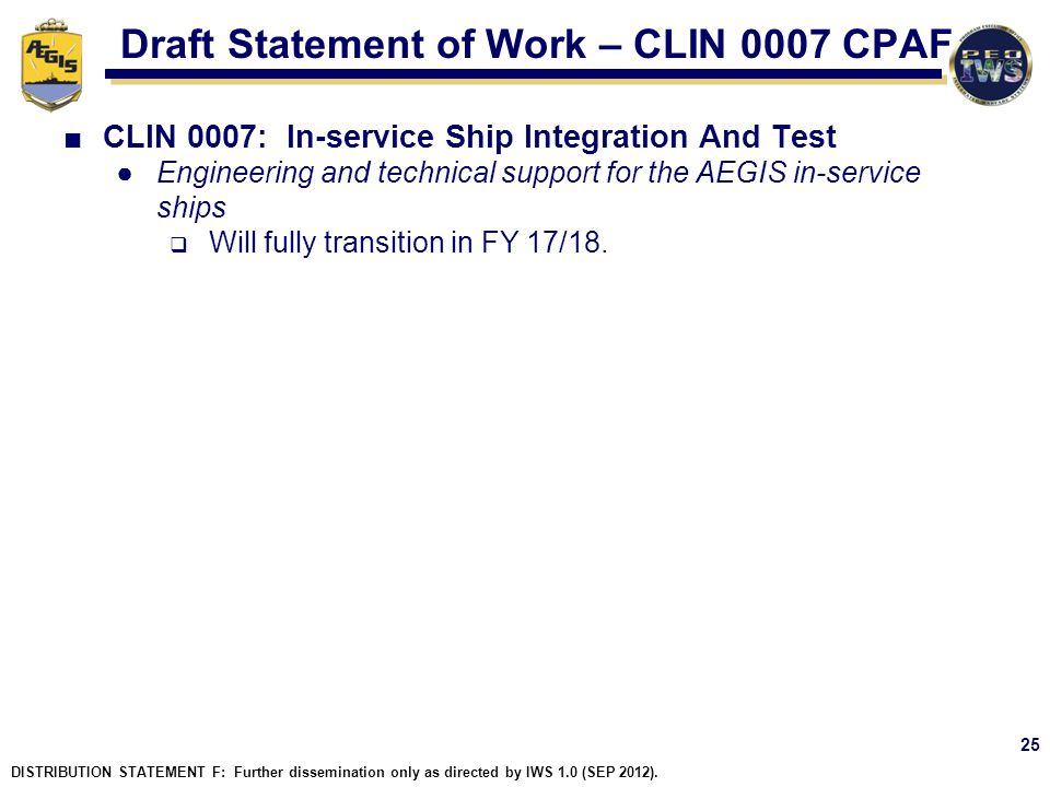 Draft Statement of Work – CLIN 0007 CPAF
