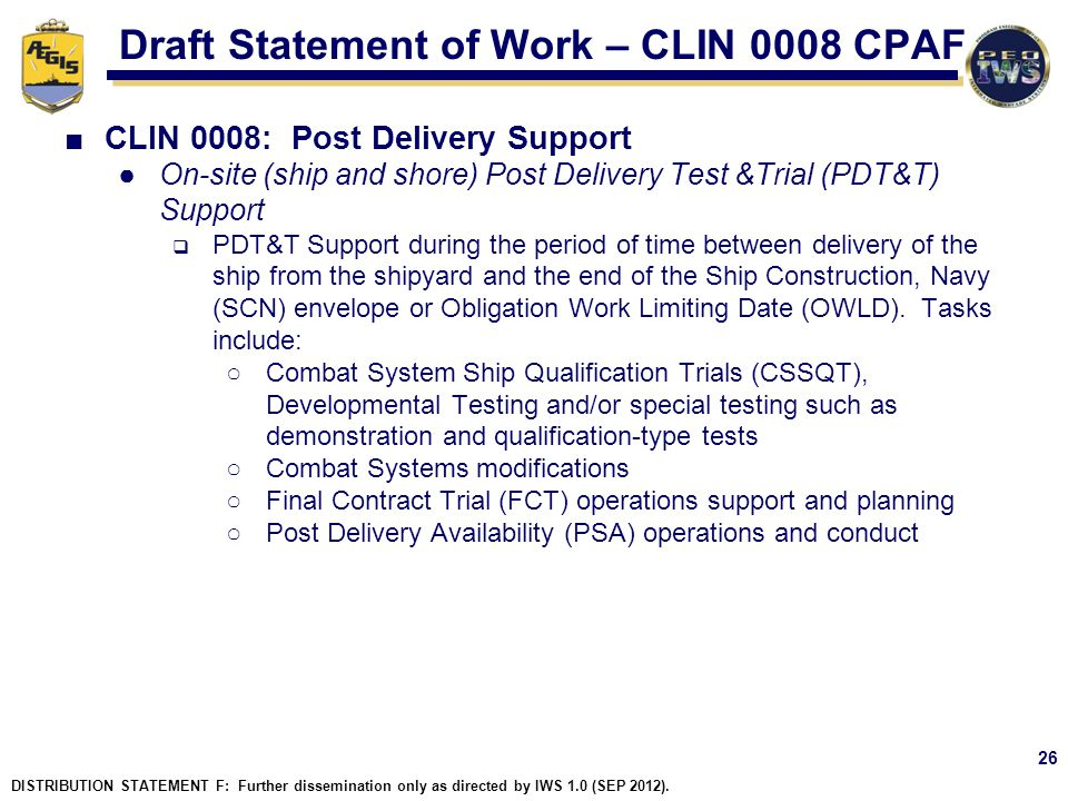 Draft Statement of Work – CLIN 0008 CPAF