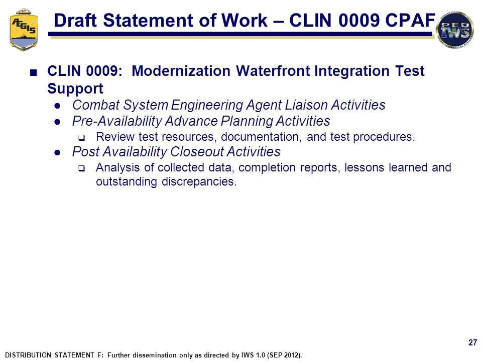 Draft Statement of Work – CLIN 0009 CPAF