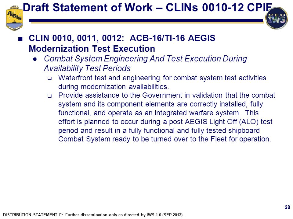Draft Statement of Work – CLINs 0010-12 CPIF