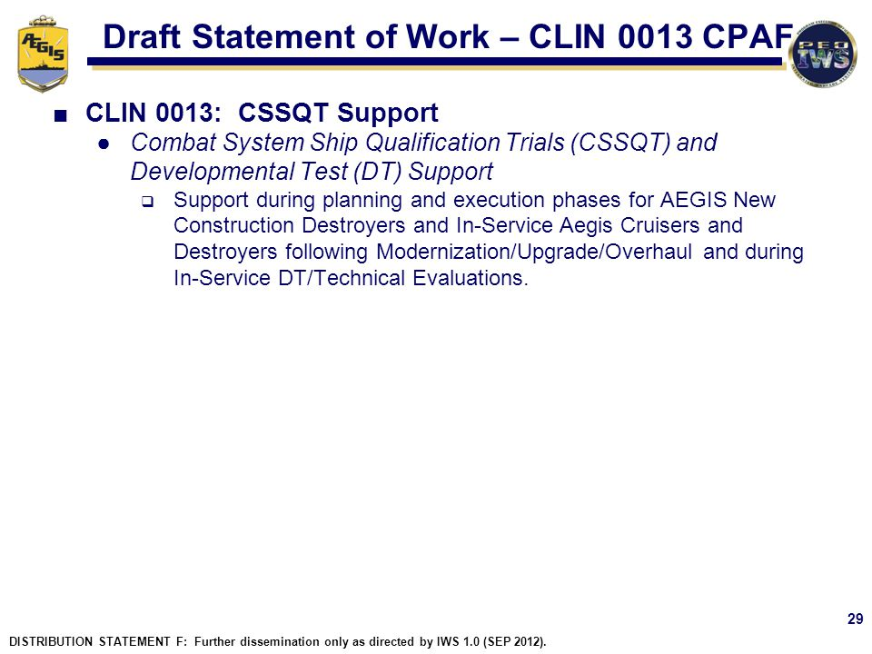 Draft Statement of Work – CLIN 0013 CPAF