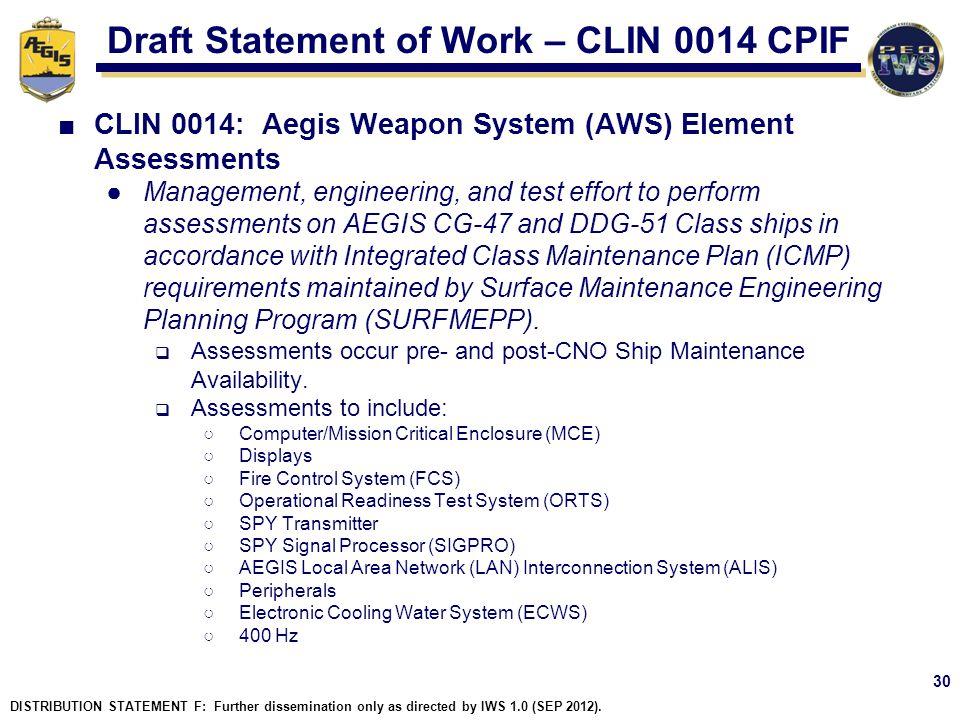 Draft Statement of Work – CLIN 0014 CPIF