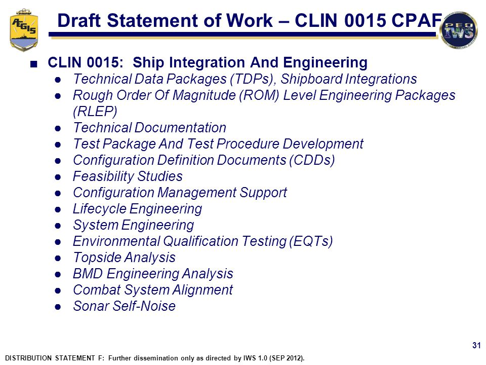Draft Statement of Work – CLIN 0015 CPAF