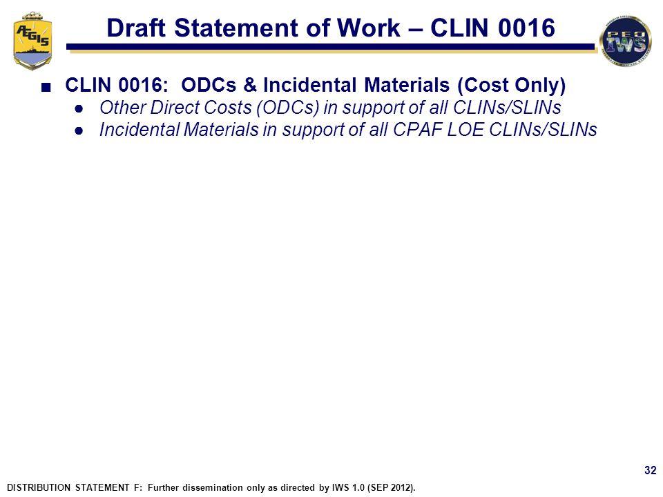 Draft Statement of Work – CLIN 0016