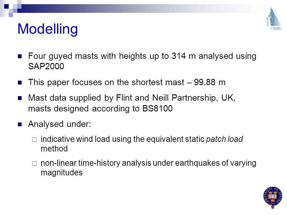 Modelling Four guyed masts with heights up to 314 m analysed using SAP2000. This paper focuses on the shortest mast – 99.88 m.