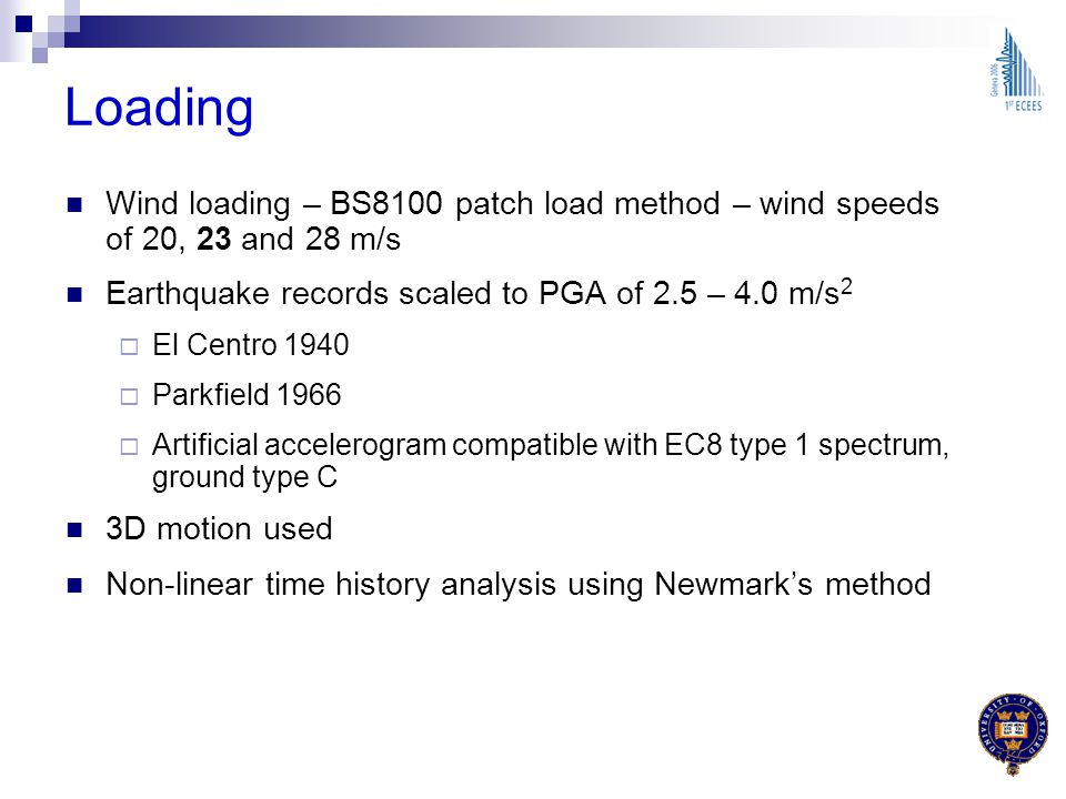 Loading Wind loading – BS8100 patch load method – wind speeds of 20, 23 and 28 m/s. Earthquake records scaled to PGA of 2.5 – 4.0 m/s2.