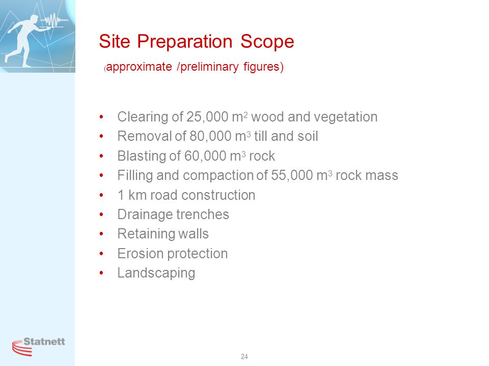 Site Preparation Scope (approximate /preliminary figures)