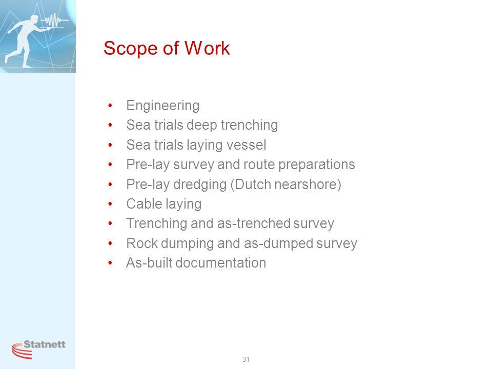 Scope of Work Engineering Sea trials deep trenching