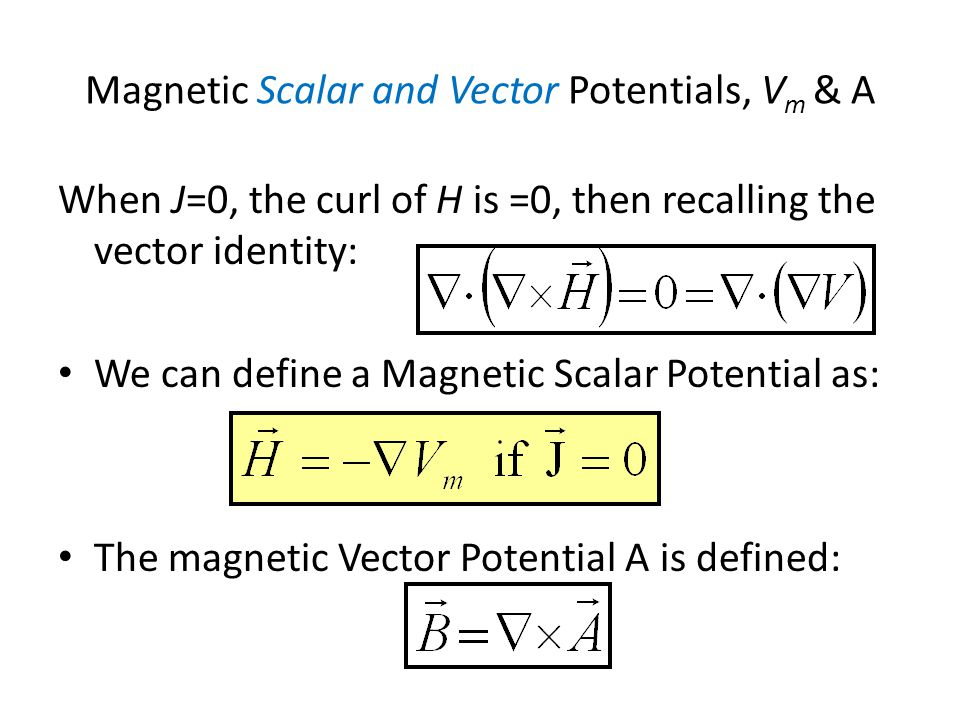 Magnetic Scalar and Vector Potentials, Vm & A