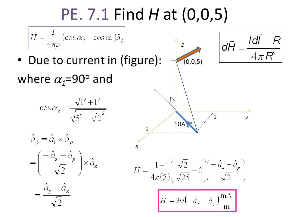 PE. 7.1 Find H at (0,0,5) Due to current in (figure): where a1=90o and