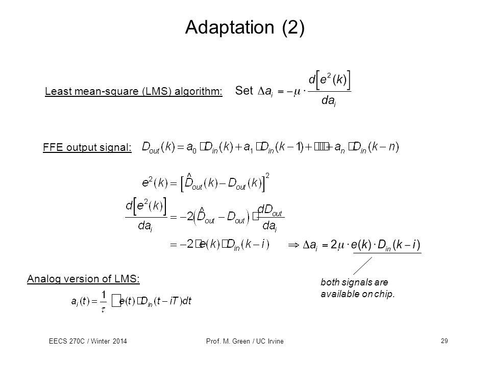 Adaptation (2) Least mean-square (LMS) algorithm: FFE output signal: ^