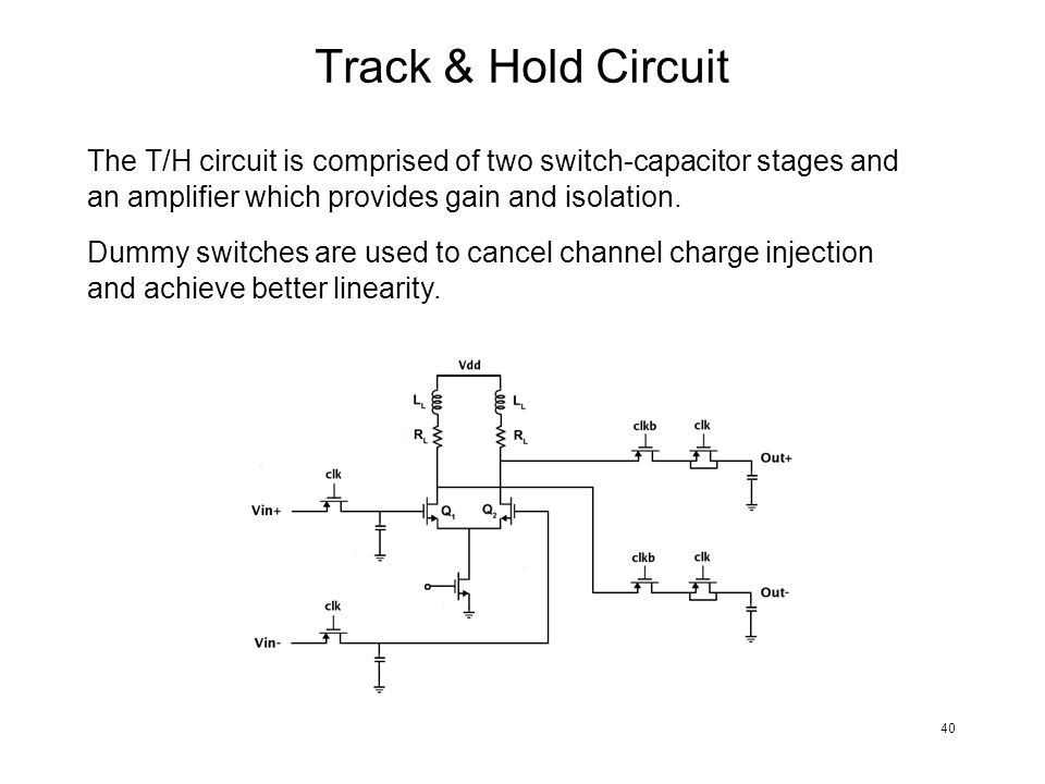 Track & Hold Circuit The T/H circuit is comprised of two switch-capacitor stages and an amplifier which provides gain and isolation.