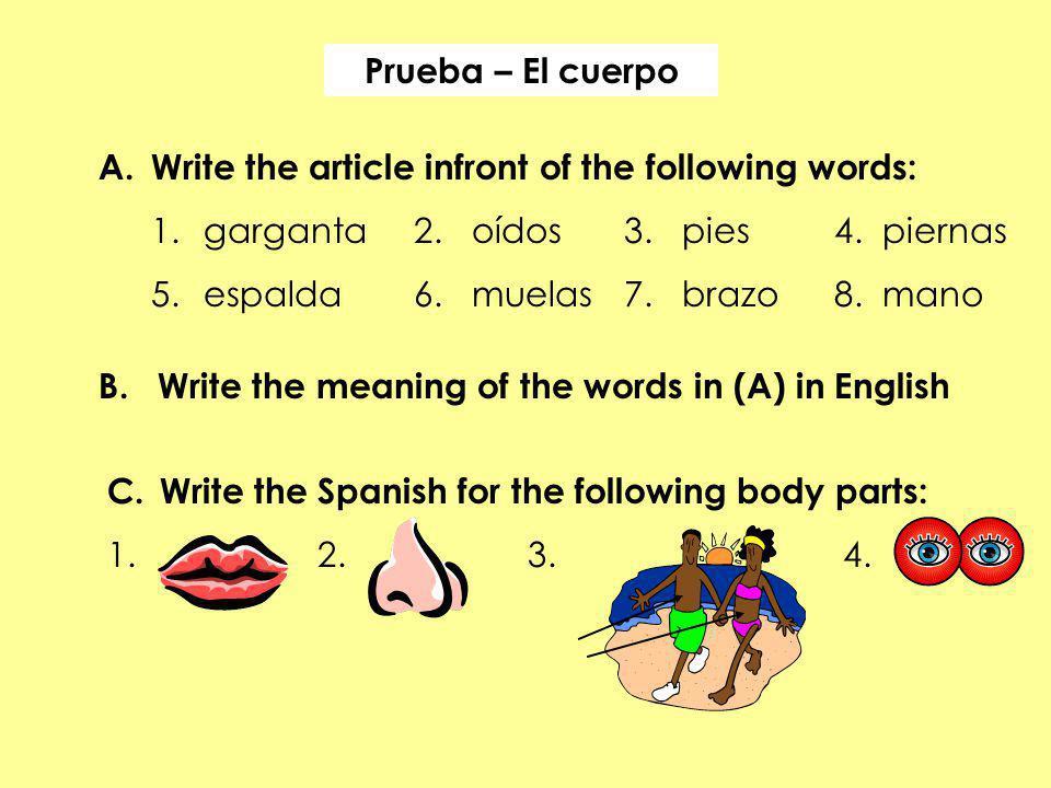 Prueba – El cuerpo Write the article infront of the following words: 1. garganta 2. oídos 3. pies 4. piernas.