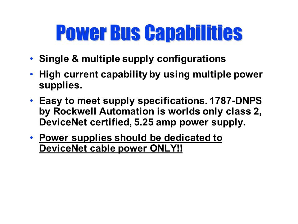 Power Bus Capabilities